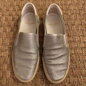 Saint Laurent Glitter Slip On Sneakers
